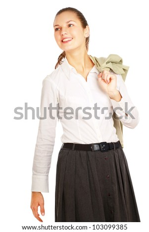 portrait of a confident business woman isolated on white background.