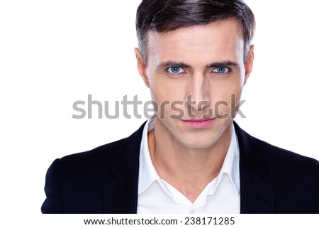Portrait of a confident businessman over white background - stock photo
