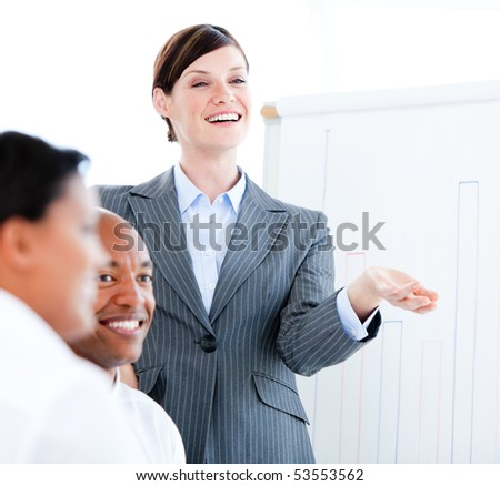 Portrait of a confident businesswoman in a meeting in the office - stock photo