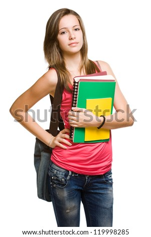 Portrait of a confident cheerful young student girl.