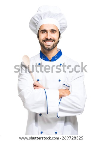 Portrait of a confident chef isolated on white - stock photo