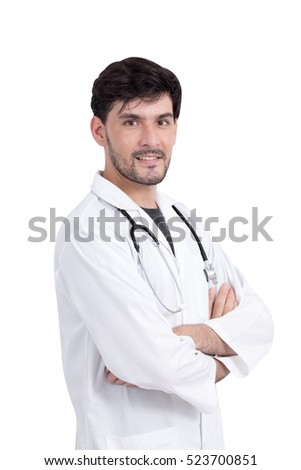Portrait of a confident doctor looking at camera isolated on white background with clipping path