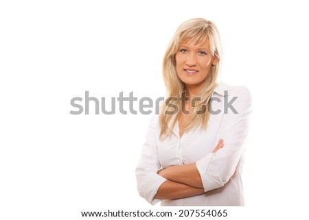 Portrait of a confident mature business woman isolated over white background