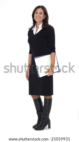 Portrait of a confident mature businesswoman with hands folded isolated on white background - stock photo