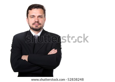 Portrait of a confident mature caucasian business man with hands folded on white background - stock photo