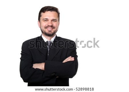 Portrait of a confident mature caucasian business man with hands folded on white background