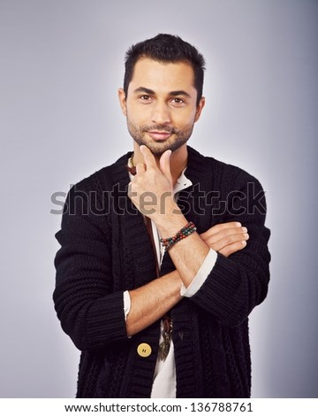 Portrait of a confident middle eastern guy - stock photo