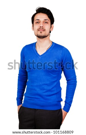 portrait of a confident muslim man with hands in the pockets, - stock photo