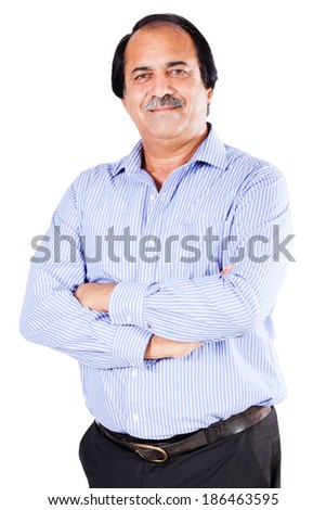 portrait of a confident senior businessman isolated on white - stock photo