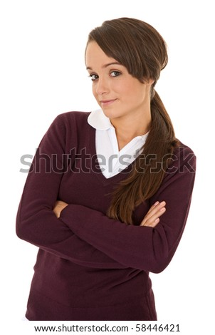 Portrait of a confident student isolated on white - stock photo