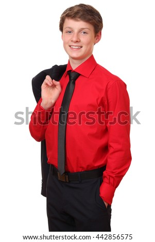 Portrait of a confident teenage boy wearing a suit on white background - stock photo