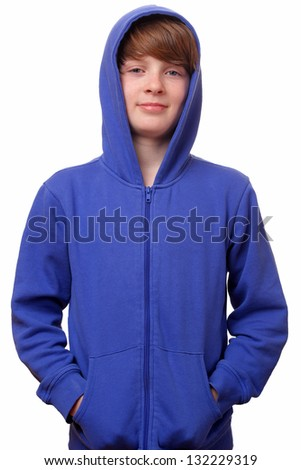Portrait of a confident young boy on white background - stock photo