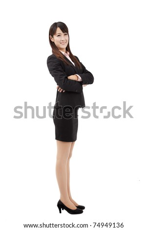 Portrait of a confident young business woman isolated on white background