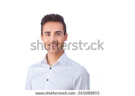 Portrait of a confident young man isolated against white background  - stock photo