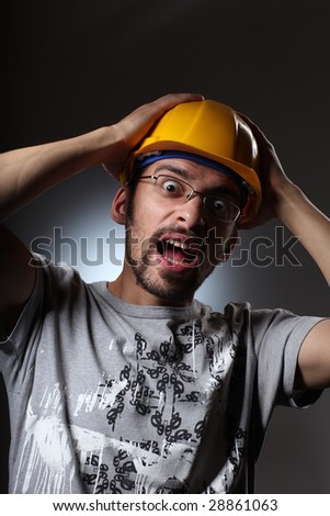 Portrait of a constraction worker screaming.