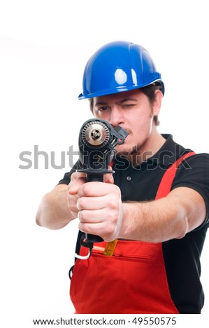 Portrait of a construction worker - stock photo