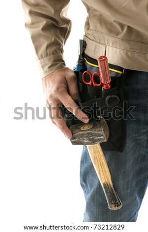 Portrait of a construction worker, close-up - stock photo