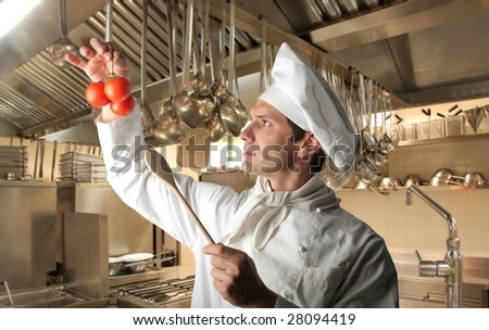 portrait of a cook controlling ingredients in a kitchen - stock photo