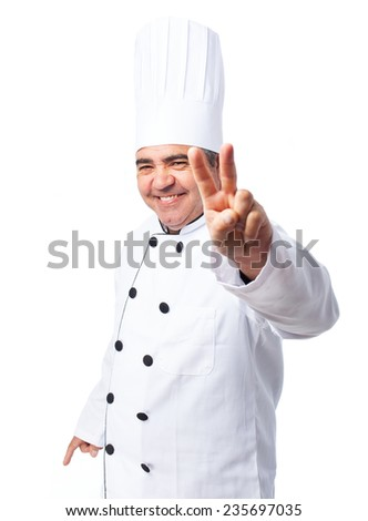 portrait of a cook man doing a number two - stock photo