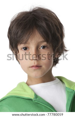 Portrait of a cool little boy  on white background - stock photo