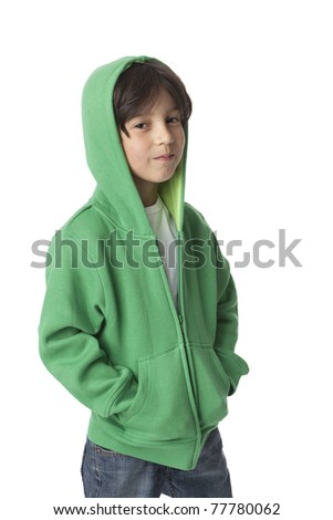 Portrait of a cool little boy with a hood  on white background - stock photo