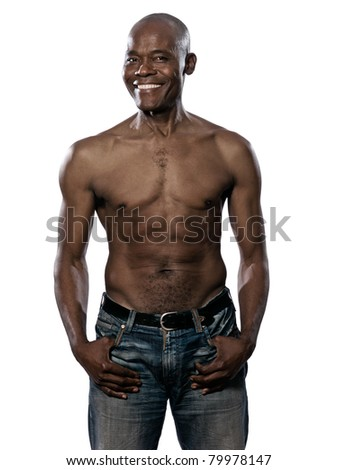 Portrait of a cool shirtless fit Afro American mature man isolated on white background - stock photo