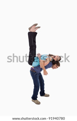 Portrait of a couple having fun together against a white background