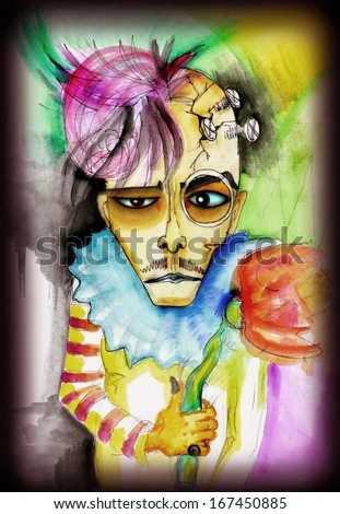 Portrait of a creepy creature in clown clothes. Colored drawing - stock photo