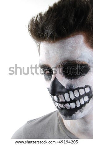 portrait of a creepy skeleton guy perfect for Carnival (isolated on white) - stock photo