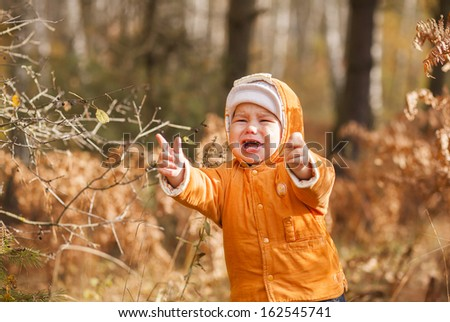 portrait of a crying boy lost in the autumn forest - stock photo