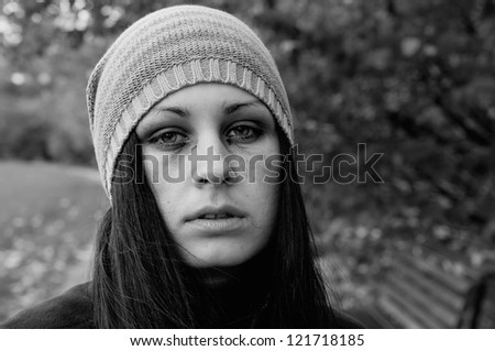 portrait of a crying girl - stock photo