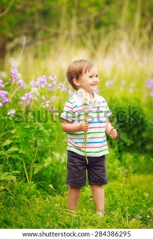 Portrait of a cute adorable little boy toddler standing in the forest field meadow with dandelion flower in his hands and laughing on a bright summer day, funny card with copy space for text