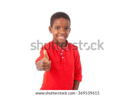 Portrait of a cute african american little boy making thumbs up gesture, isolated on white background - stock photo