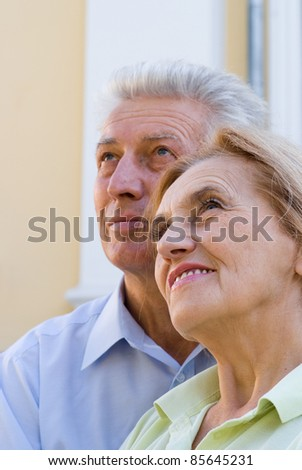 portrait of a cute aged couple at park