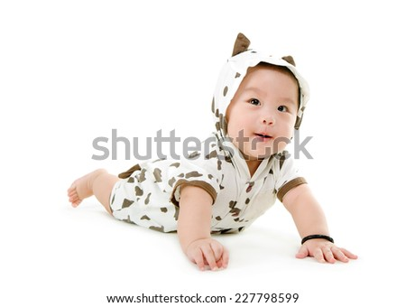 Portrait of a cute asian baby - stock photo