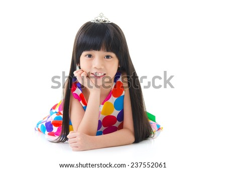 portrait of a cute asian girl - stock photo