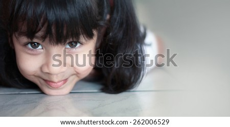 Portrait of a cute asian girl. - stock photo