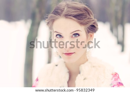 Portrait of a cute blonde in Winter Park - stock photo