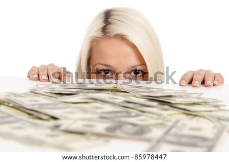 portrait of a cute blonde with money