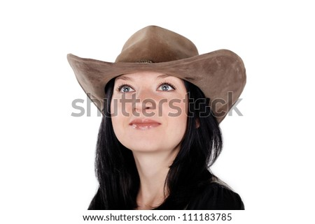 portrait of a cute brunette girl in a hat isolated - stock photo