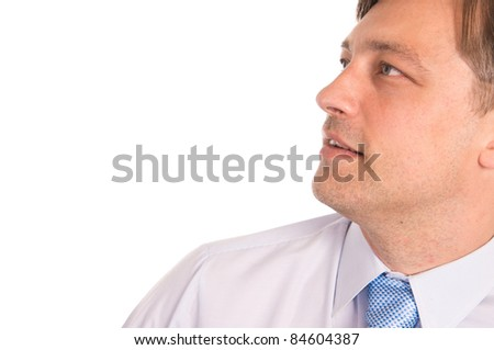portrait of a cute businessman on white