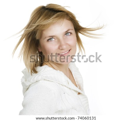 Portrait of a cute cheerful young woman - stock photo