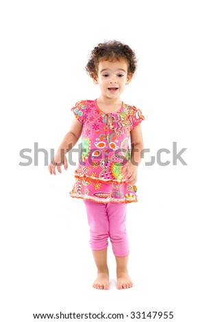 Portrait of a cute Child on white background .