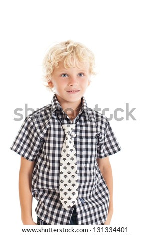 Portrait of a cute curly blond European boy wearing a plaid shirt and a tie. Studio shot, isolated on white background. - stock photo
