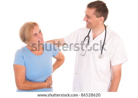 portrait of a cute doctor and patient  on white