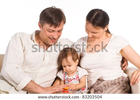 portrait of a cute family of a three