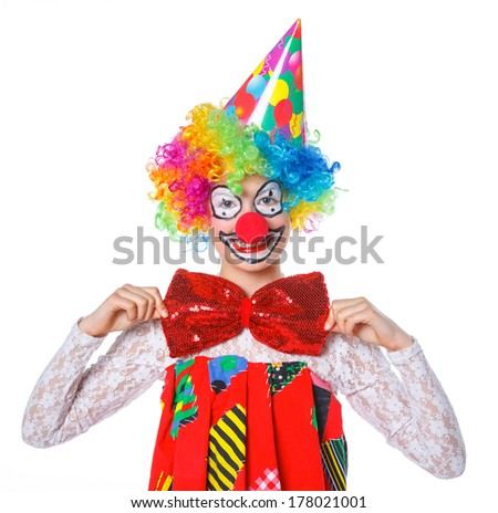 Portrait of a cute girl clown. Isolated on white background. - stock photo