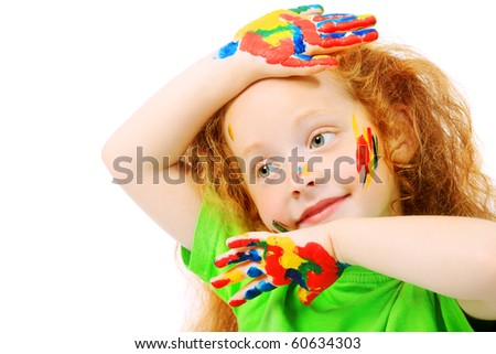 Portrait of a cute girl enjoying her painting. Education. Isolated over white background. - stock photo