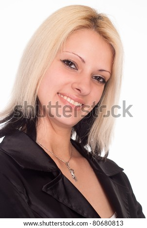 portrait of a cute girl on a white background