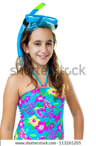 Portrait of a cute hispanic girl with a diving mask and snorkel isolated on white - stock photo